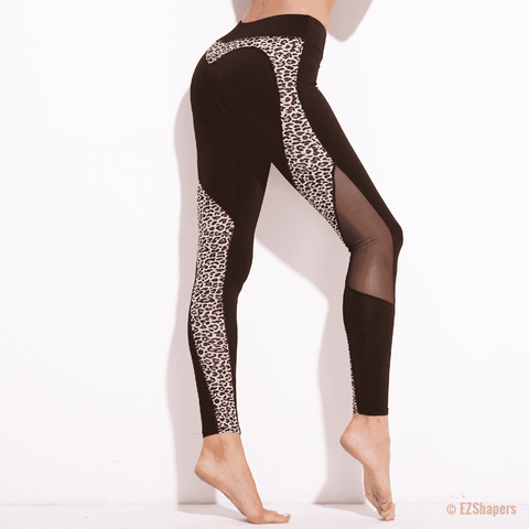 Image of Fitness Leopard Heart Patchwork Leggings