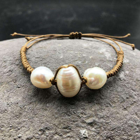 Image of Hand Woven Wrapped Pearl Bracelet