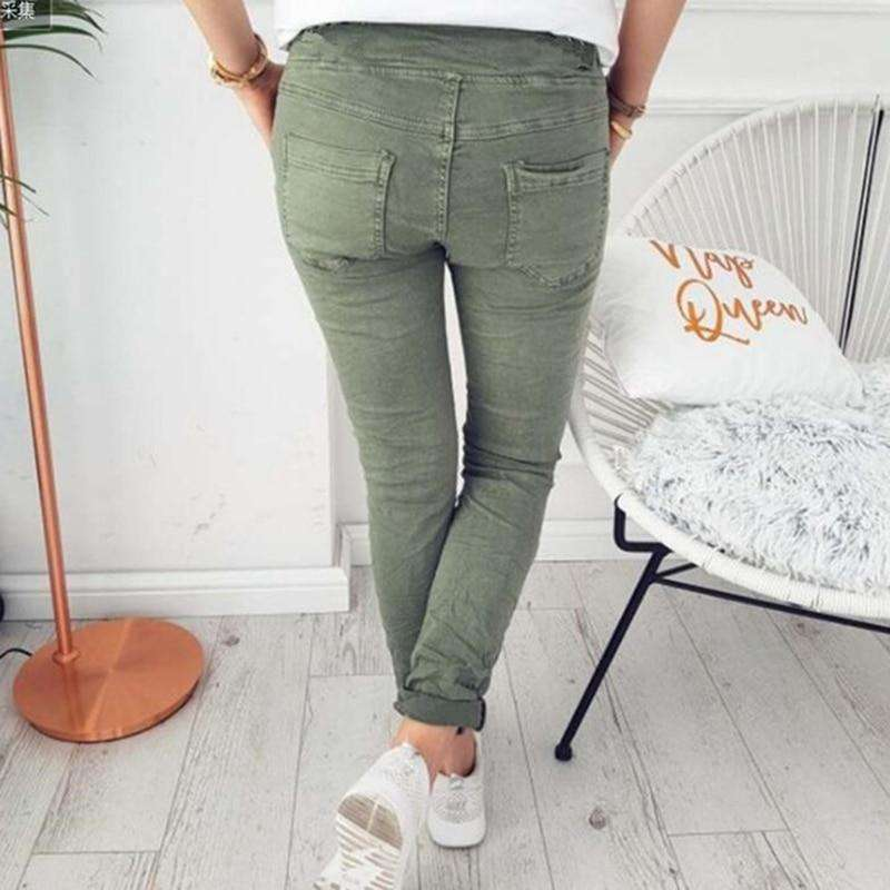 Solid Skinny Elasticity With Belt Jeggings