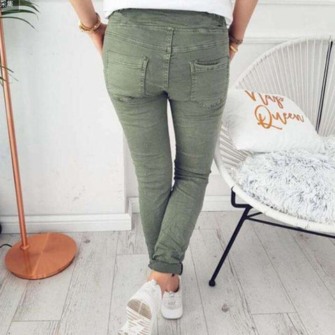 Image of Solid Skinny Elasticity With Belt Jeggings