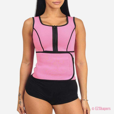 Image of Waist trainer Slimming Belt with Front Zipper Closure and Velcro Closure