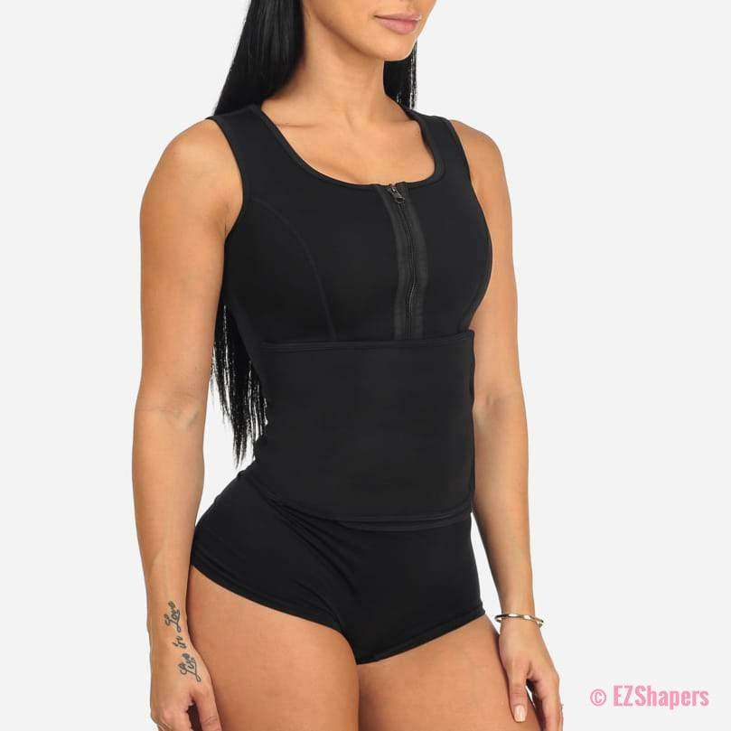 Workout Compression Waist Trainer With Velcro & Zipper Closure