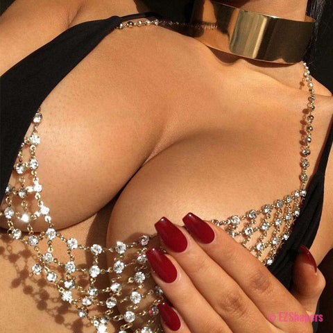 Rhinestones Body Chain Bra