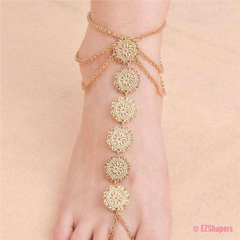 Image of Flower Coins Anklet