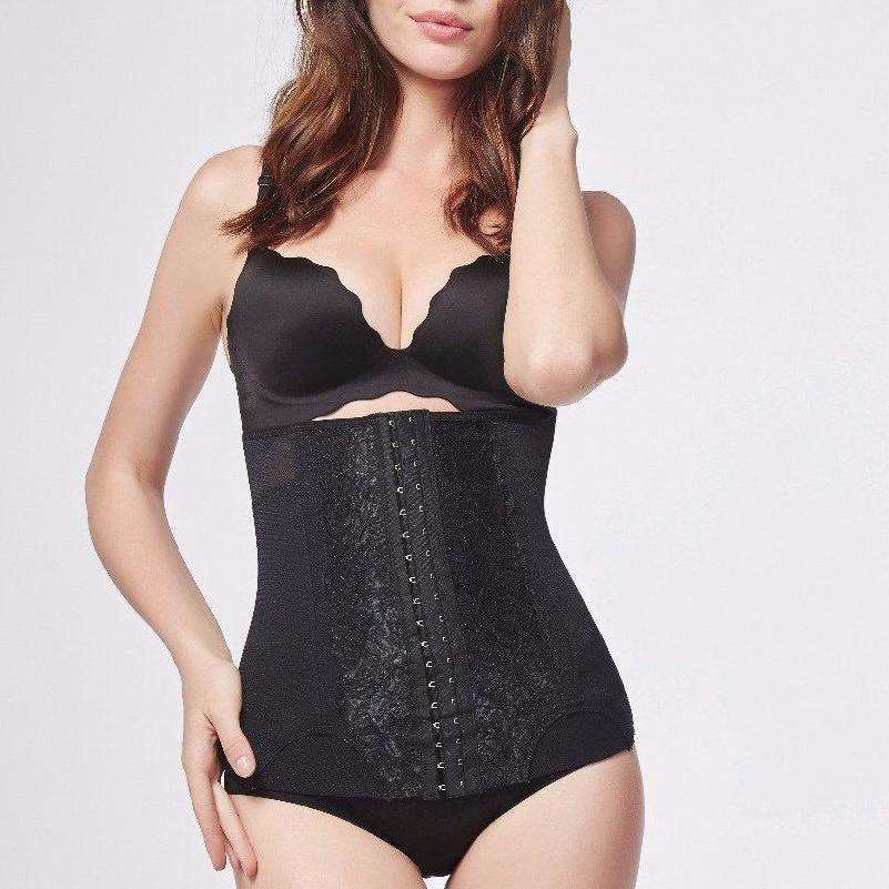 Lace Slimming Waist Trainer With Front Hook-and-Eye Closure
