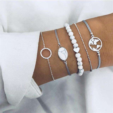 Bohemian Shell Moon Bracelet Set
