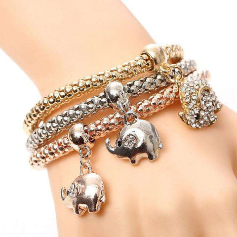 Image of 3pcs Heart Charm Bracelet
