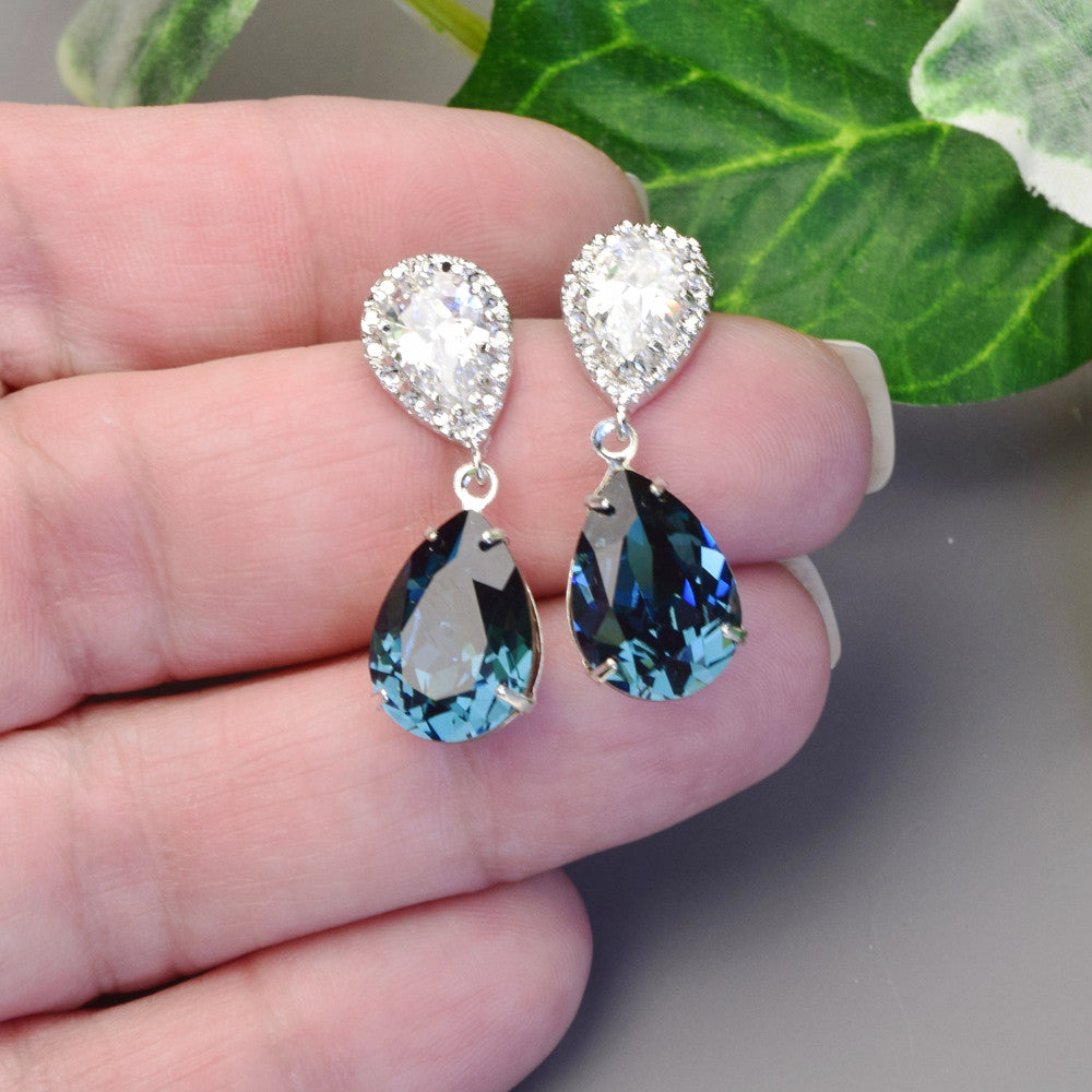 Navy Blue Swarovski Earrings