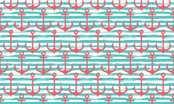 Anchors and Stripes Teal Coral