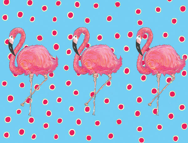 Flamingos on Dots Blue