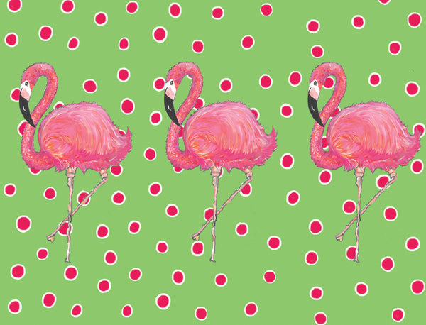 Flamingos on Dots Green