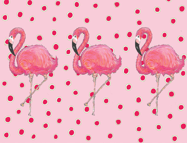 Flamingos on Dots Pink
