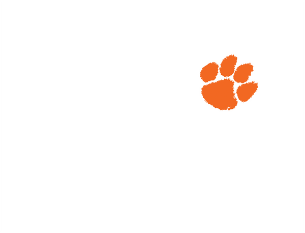 Clemson Orange Paw On White