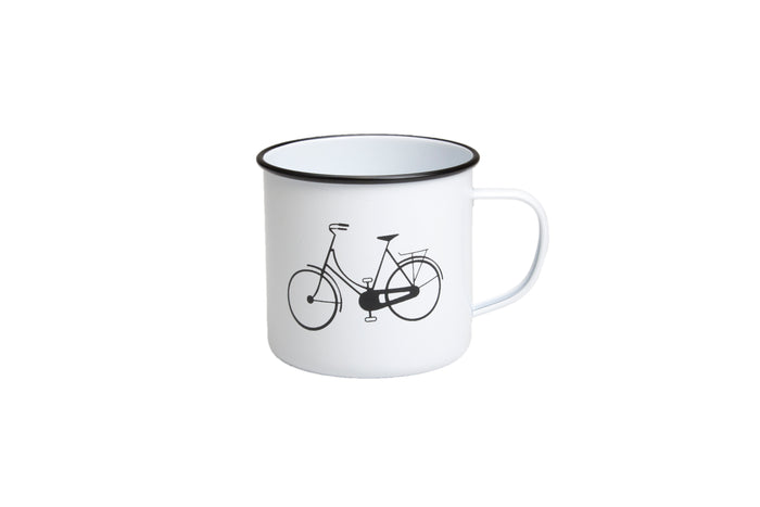 RetroKitchen enamel mug with bicycle design