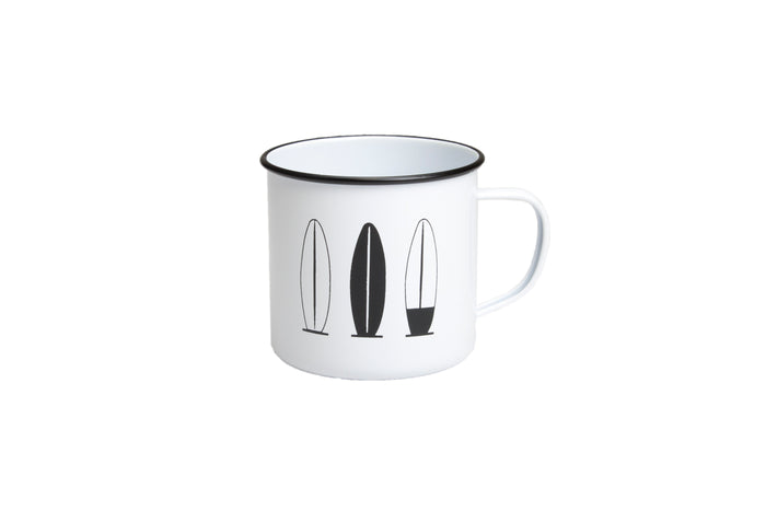 RetroKitchen enamel mug with surfboards design