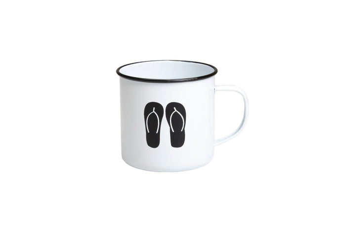 RetroKitchen enamel mug with thongs design