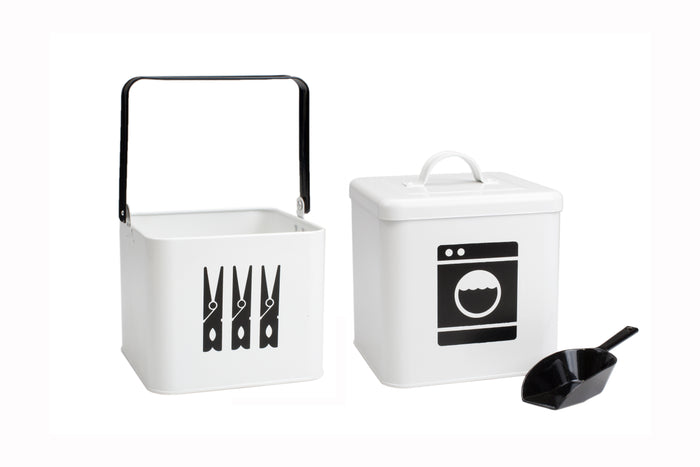 RetroKitchen laundry powder and peg storage set in contemporary black and white design