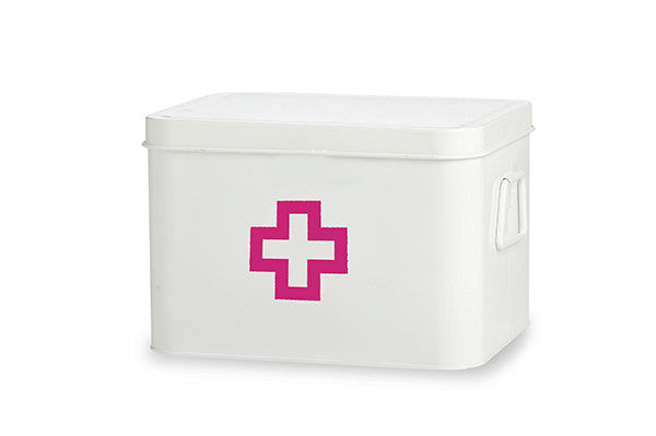 retrokitchen medicine box in white with hot pink cross