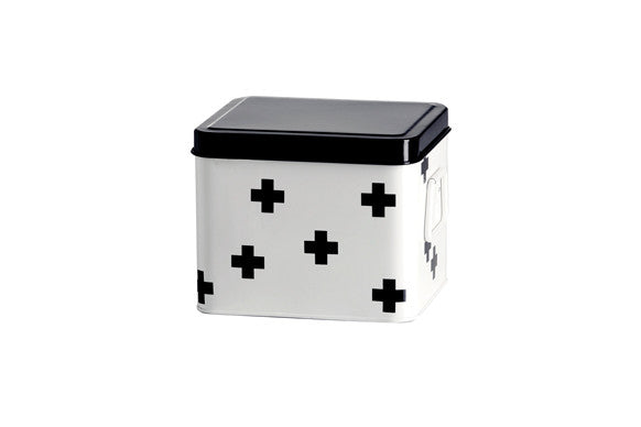 RetroKitchen medicine chest in small size with multi cross design in black and white