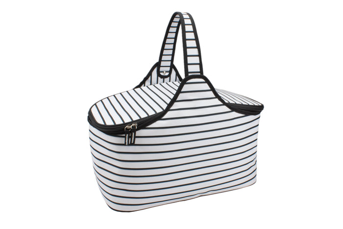 RetroKitchen black and white striped contemporary picnic hamper