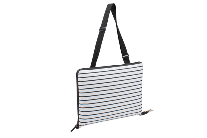 RetroKitchen black and white stripe picnic blanket