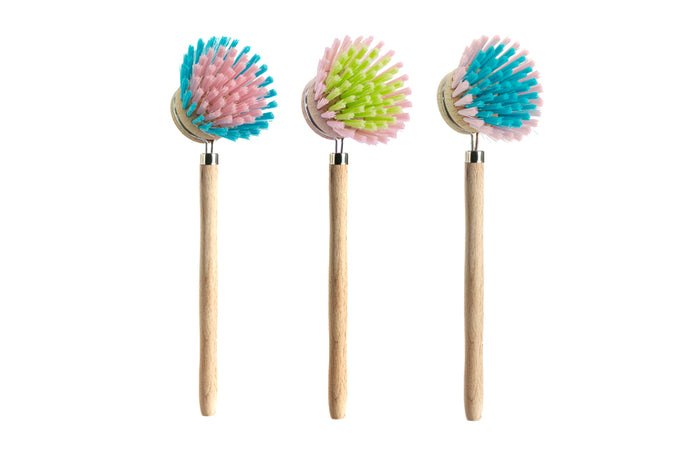 RetroKitchen timber dish washing brushes in assorted colours
