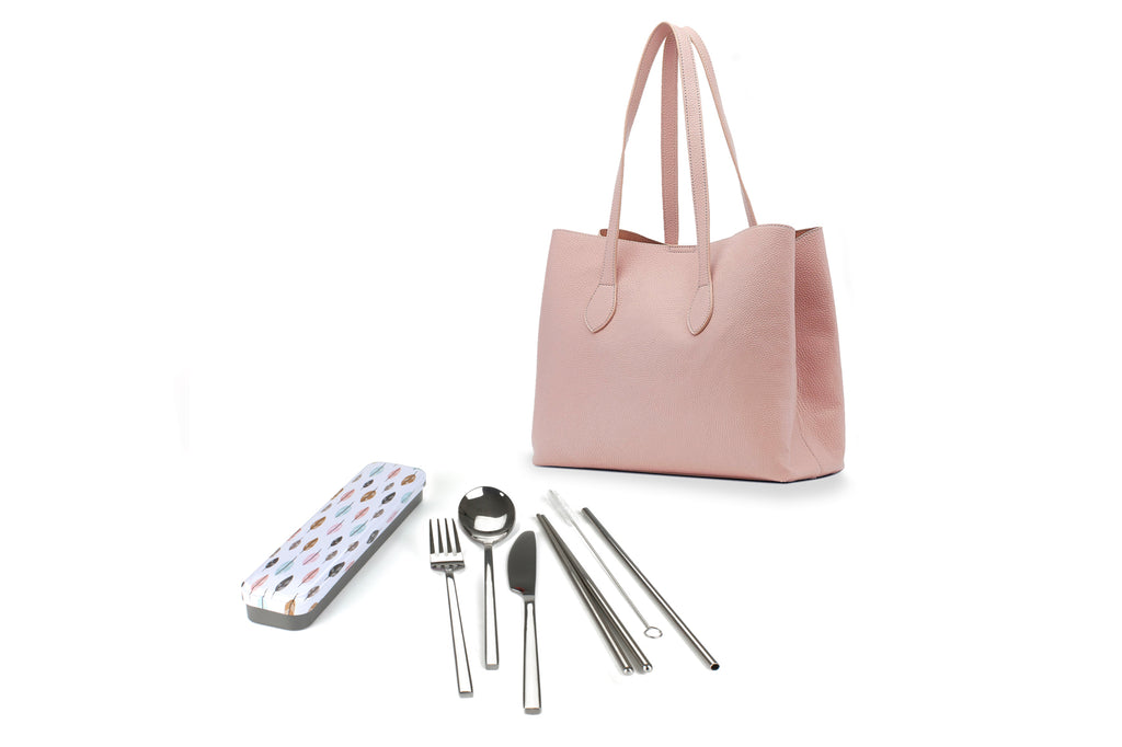 RetroKitchen Carry Your Cutlery Set - Leaf Design - includes fork, knife, spoon, chopsticks, straw and brush