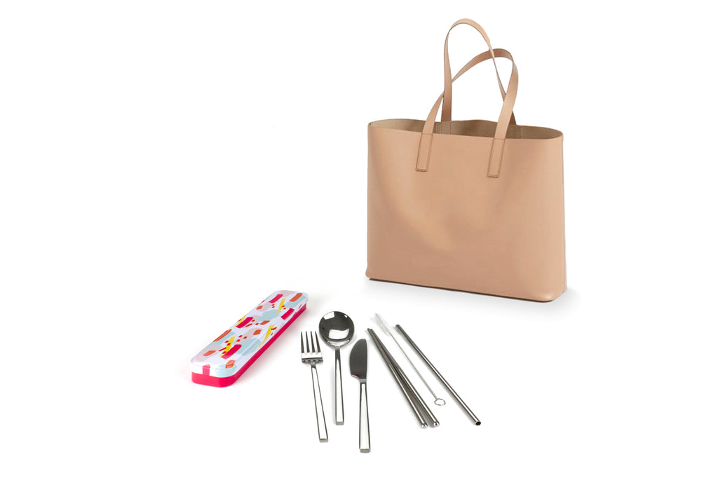 RetroKitchen Carry Your Cutlery Set - Colour Splash Design - includes fork, knife, spoon, chopsticks, straw and brush