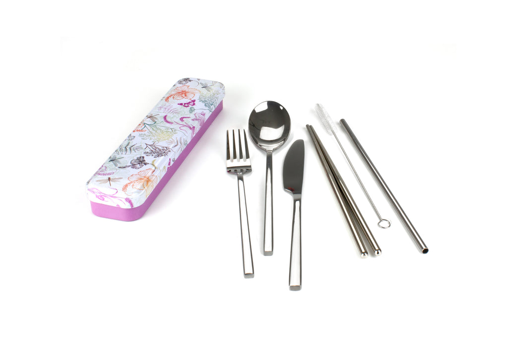 RetroKitchen Carry Your Cutlery Set - Dragonfly Design - includes fork, knife, spoon, chopsticks, straw and brush