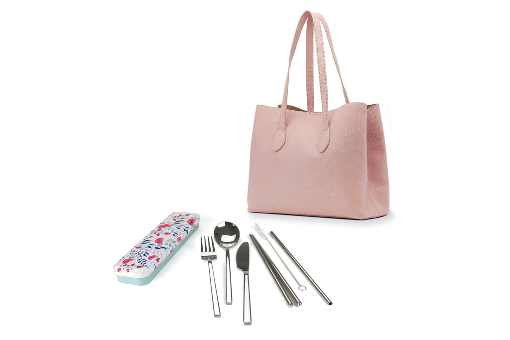 RetroKitchen Carry Your Cutlery Set - Botanical Design - includes fork, knife, spoon, chopsticks, straw and brush