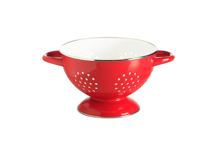 RetroKitchen porcelain enamel colander in red with white interior