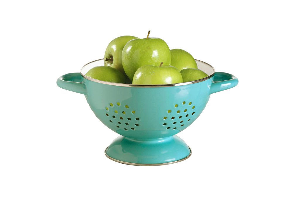 retro kitchen porcelain enamel colander in turquoise and white