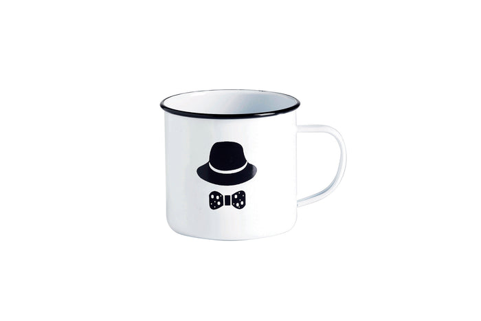 RetroKitchen enamel cup, panikin with hat and bowtie hipster decal