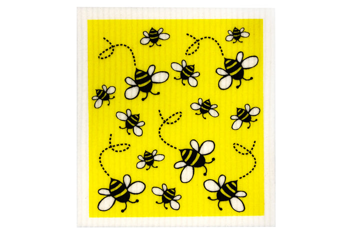 RetroKitchen biodegradable kitchen sponge cloth - Bees design