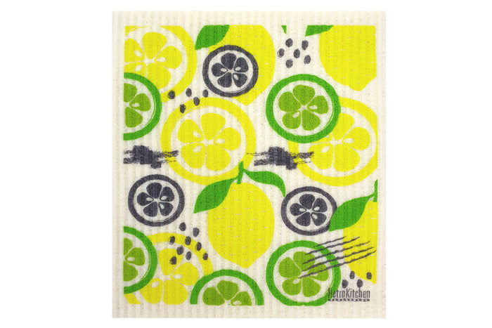 RetroKitchen compostable kitchen sponge cloth with citrus design