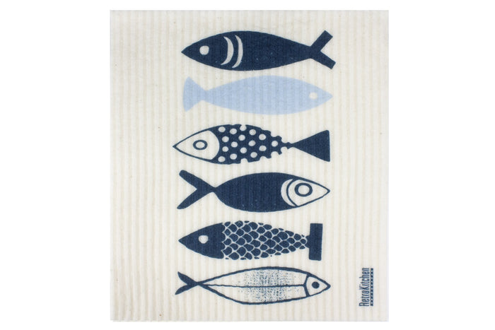 RetroKitchen compostable sponge cloth in fish design