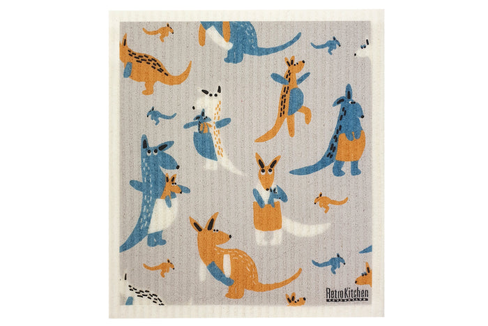 RetroKitchen compostable kitchen sponge cloth with kangaroos design