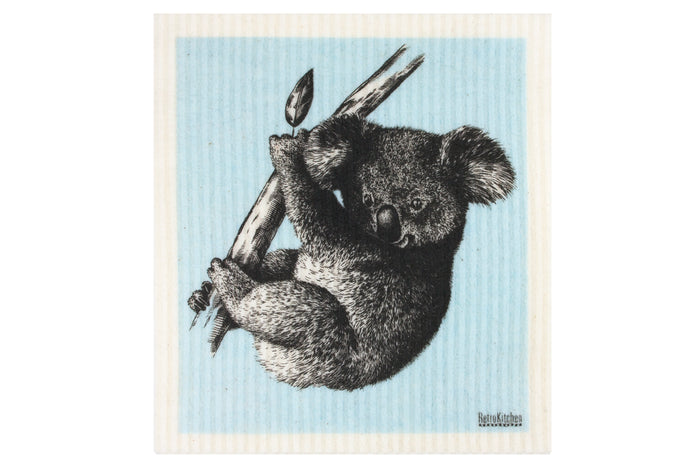 RetroKitchen biodegradable kitchen sponge cloth - koala design in pastel blue
