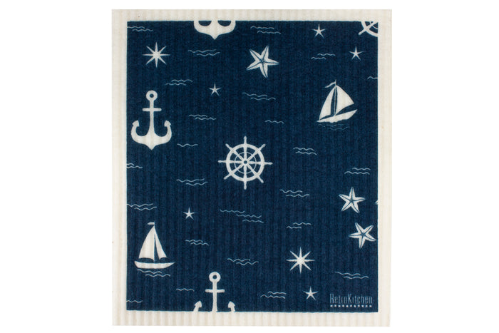 RetroKitchen compostable kitchen sponge cloth in nautical design