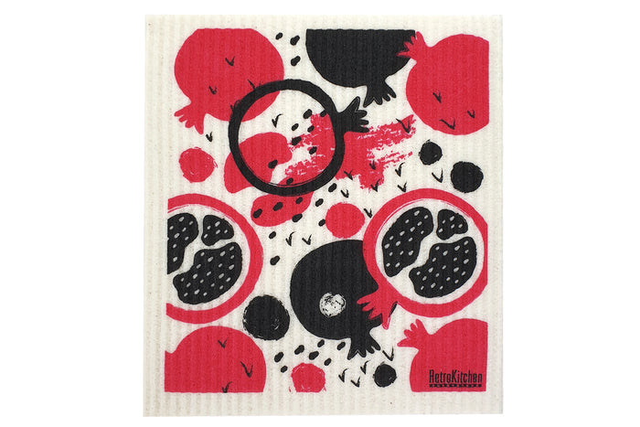 RetroKitchen compostable kitchen sponge cloth with pomegranate design