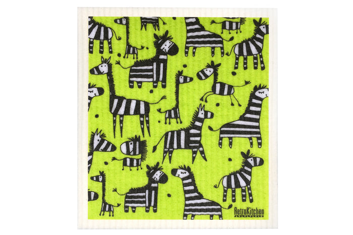 Retrokitchen compostable kitchen sponge cloth with zebras design