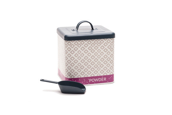 retro kitchen laundry powder container with matching scoop in mauve, pink and slate grey