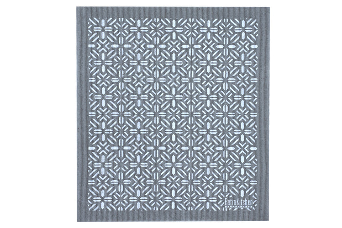 RetroKitchen Sponge Cloth Geo Pattern and Grey background