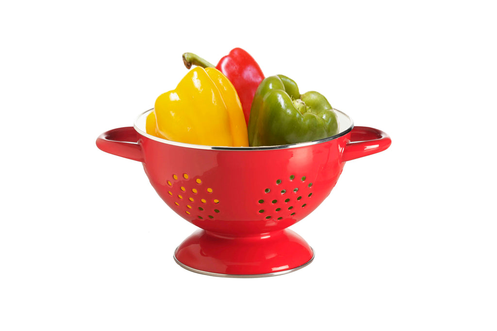 RetroKitchen porcelain enamel colander in red with white interior_sytled with capsicums