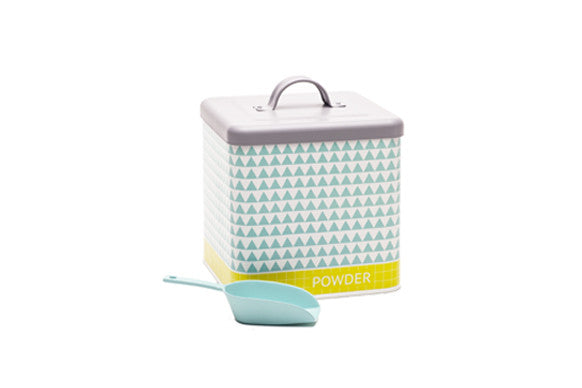 retro kitchen laundry powder container with. matching scoop in aqua, yellow and grey