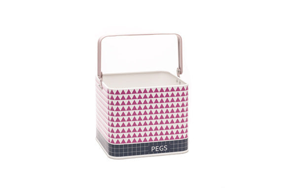 retroktichen peg bucket in pink, mauve and slate grey with geometric shapes