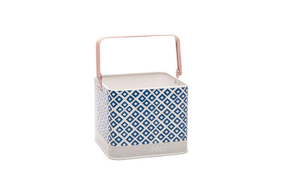 retrokitchen peg bucket in navy, blush pink and grey
