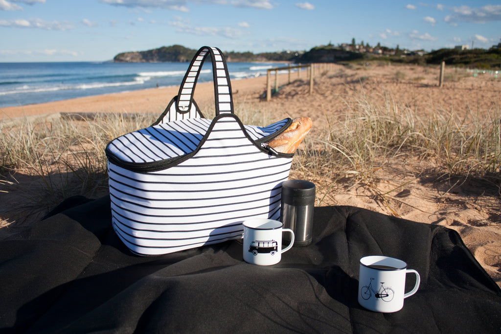 RetroKitchen black and white stripe picnic blanket with matching picnic hamper