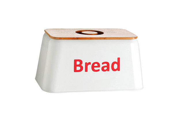 RetroKitchen white enamel bread box with bamboo lid and red text Bread on the front panel.