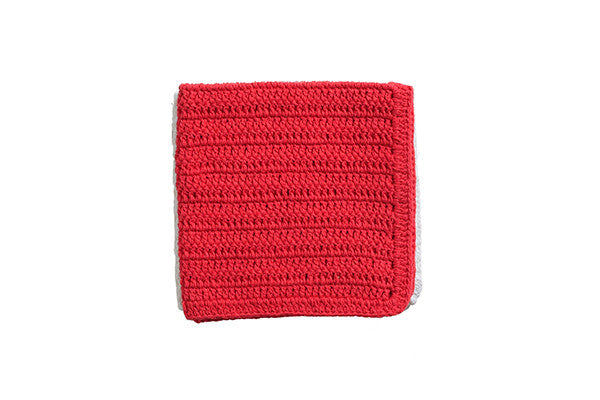 RetroKitchen crocheted cotton dish cloth in raspberry and white